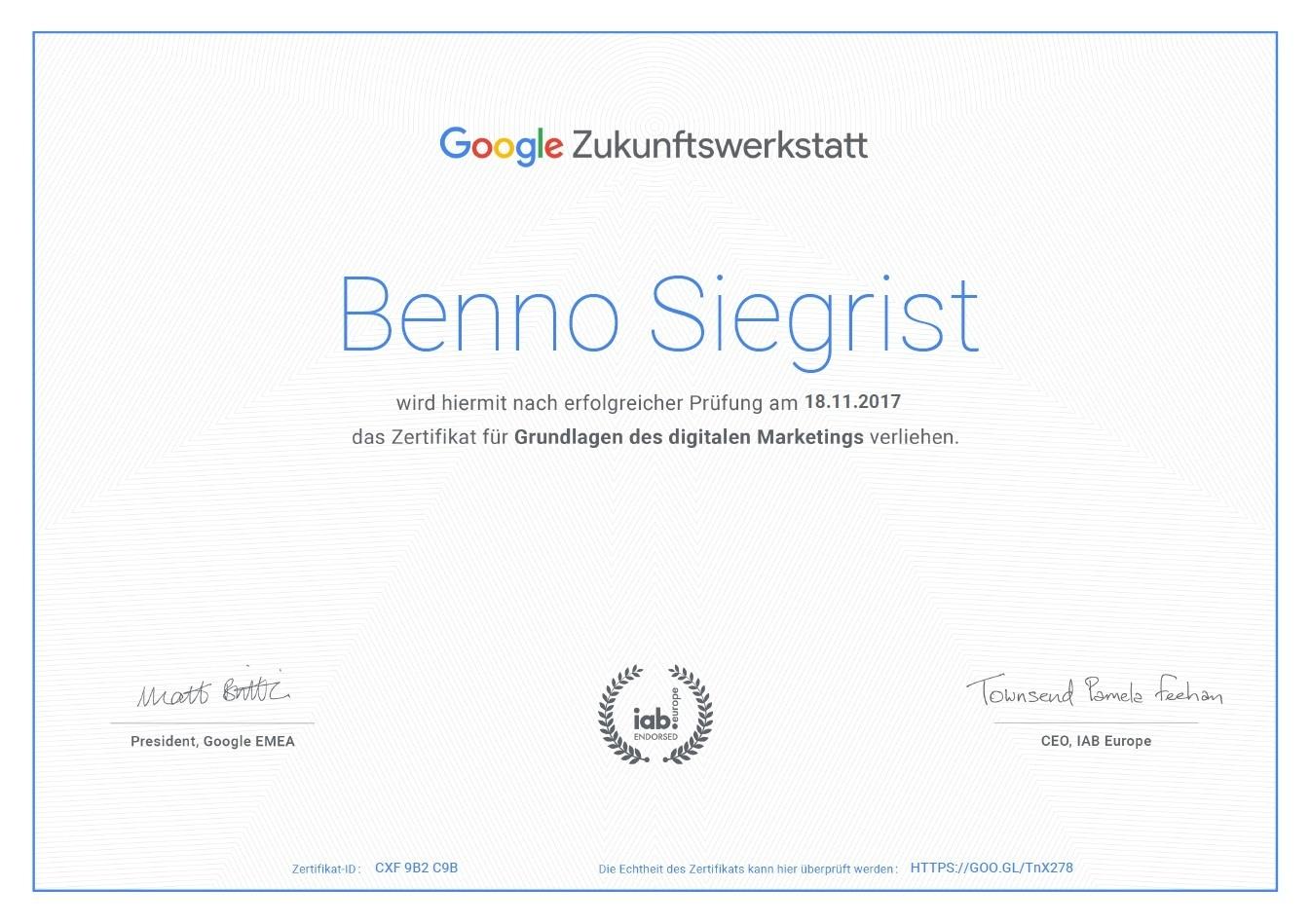 Google Zukunftswerkstatt Zertifikat BennoSiegrist